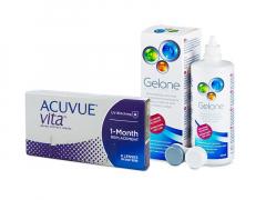 Acuvue Vita (6 kpl) + Gelone-piilolinssineste 360 ml