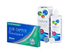 Air Optix plus HydraGlyde for Astigmatism (3 kpl) + Gelone-piilolinssineste 360 ml