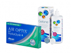 Air Optix plus HydraGlyde for Astigmatism (6 kpl) + Gelone-piilolinssineste 360 ml