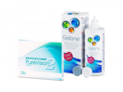 PureVision 2 (3 kpl) + Gelone-piilolinssineste 360 ml