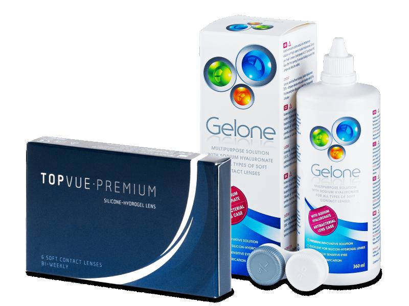 TopVue Premium (6 kpl) + Gelone -piilolinssineste 360 ml