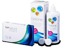 TopVue Air for Astigmatism (3kpl) + Gelone -piilolinssineste 360 ml