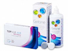 TopVue Air Multifocal (3 kpl) + Gelone -piilolinssineste 360 ml