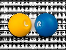 Piilolinssikotelo - kelta-sininen